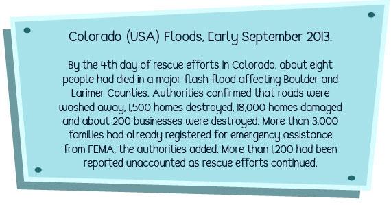 Flash flood fact from Colorado USA, 2013