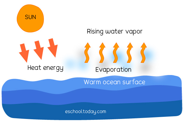 Diagram of water changing to vapor and rising upward.