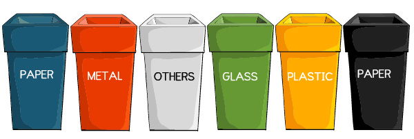 What do recycle bin colors mean?
