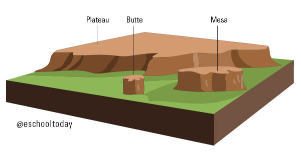 A Mesa and a Butte are types of plateaux