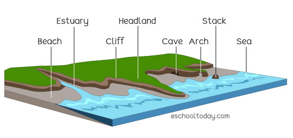 A coastline may also have many more physical features as part of it.