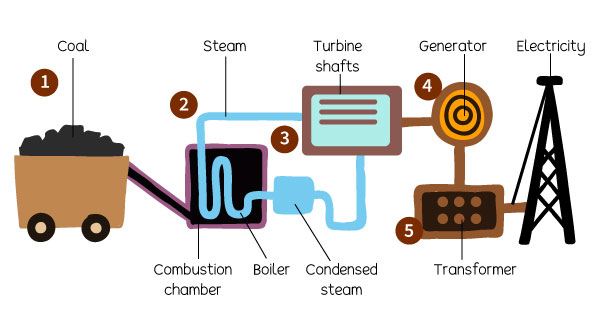 Illustration of Coal Combustion Process