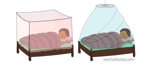 Mosquito nets come in various shapes and colours. They all do a good job as long as they are tucked in well. It is even better if they are treated with insecticide.